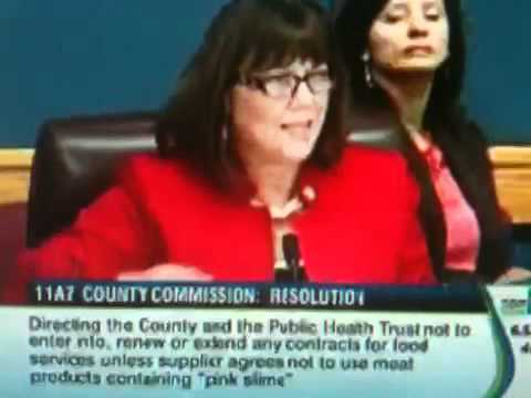 Miami Dade County Commissioner Lynda Bell Argues for Pink Slime in Food Served by  Miami Dade County