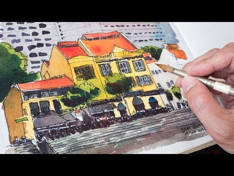 Boat Quay Shophouse Sketch Timelapse