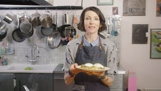 thomasina miers cooks poached eggs with melted leeks and chipotle tahini dressing
