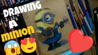 How to draw a Minion (Despicable Me) on kraft paper