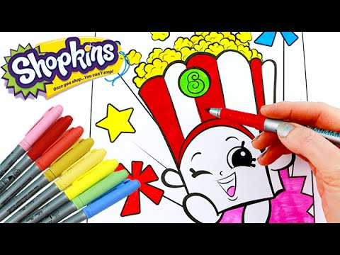 SHOPKINS Coloring Book Poppy Corn Speed With Markers