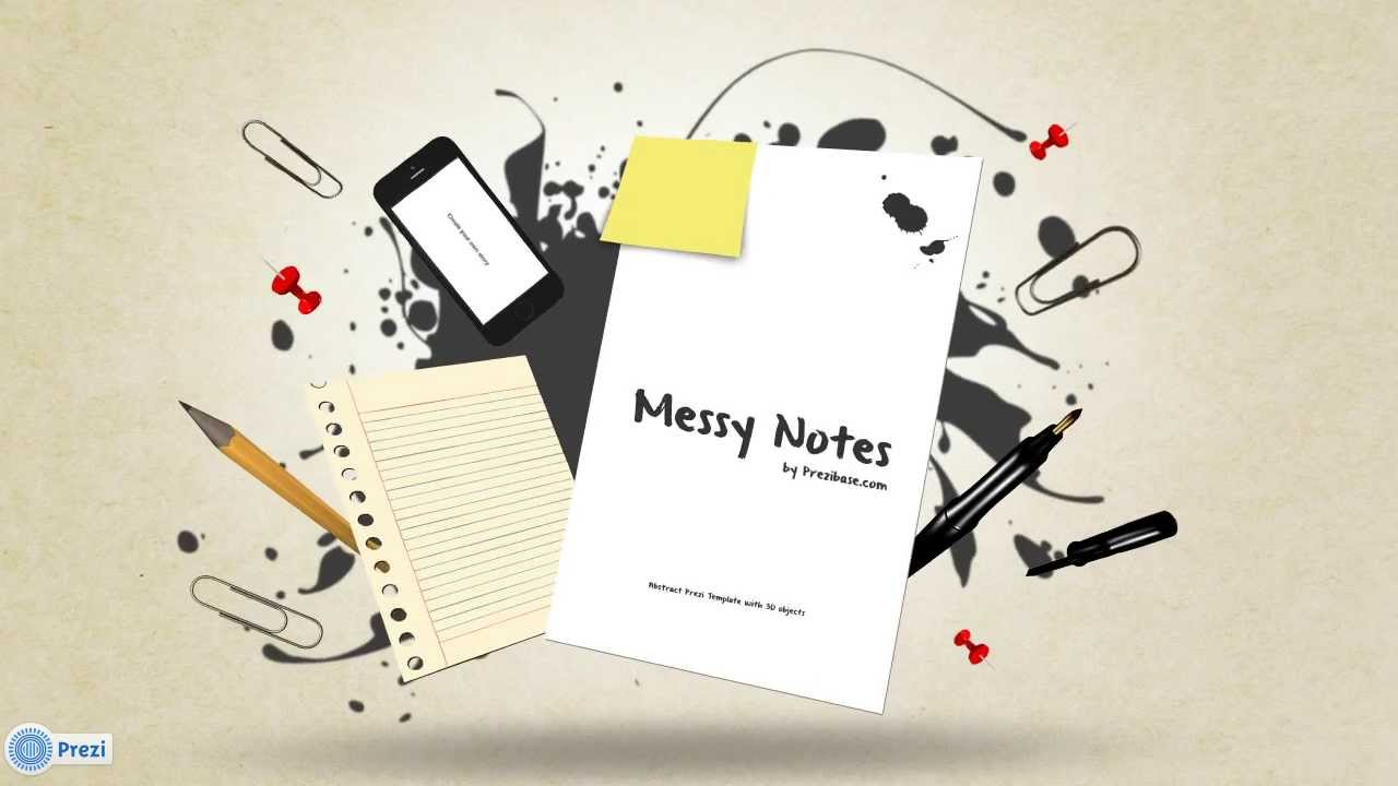 messy notes - prezi template - youtube, Powerpoint templates
