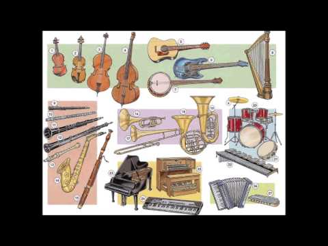 Musical instruments vocabulary - English lesson