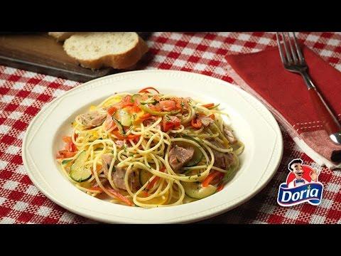 Spaghetti doria No 5 con verduras salteadas y lomitos de atún