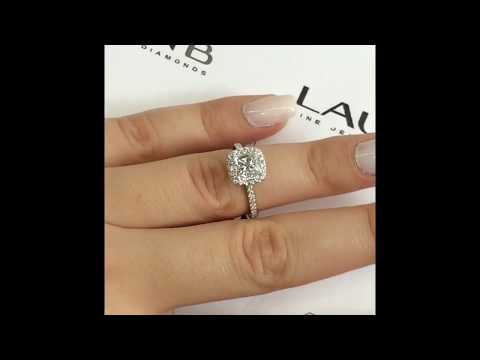 Princess Cut Diamond Engagement Ring in Cushion Halo