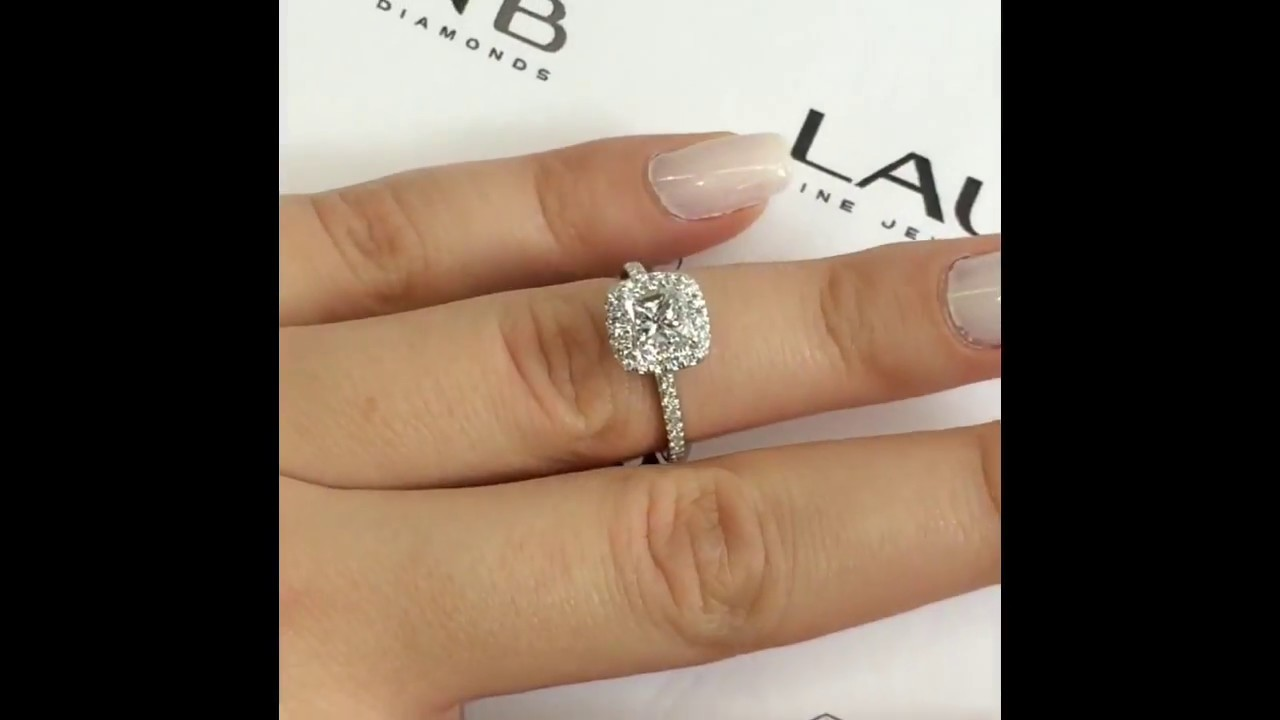 Princess Cut Diamond Engagement Ring In Cushion Halo