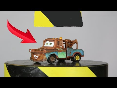 Experiment Disney Cars 3 Tow Mater And Toys VS Hydraulic Press | The Crusher
