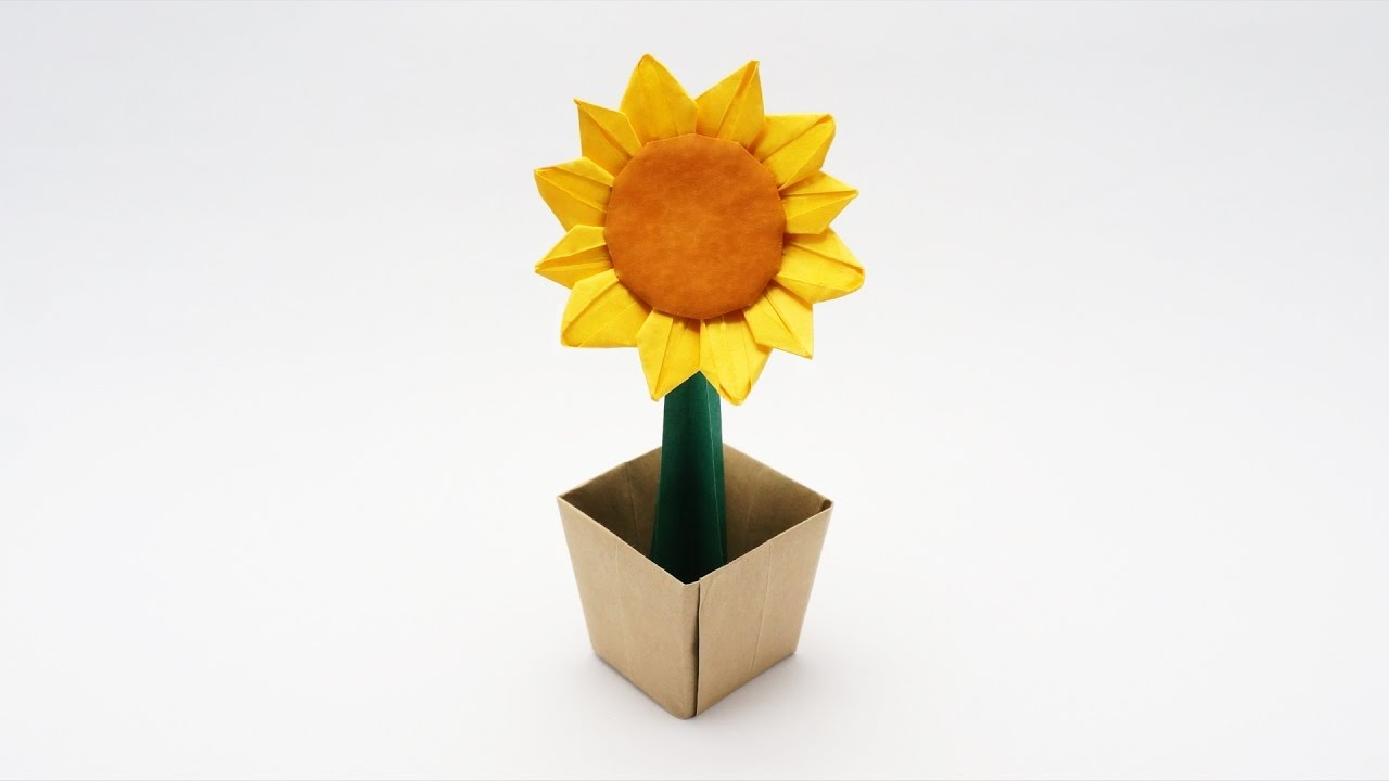hight resolution of  origami sunflower flower