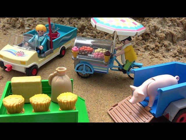 Car assembly toys for kids - Playmobil Aquarium Maintenance Cart, Ice Cream Man, Trailers