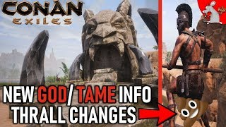 CONAN EXILES NEW GOD AND TAME INFO! THRALL CHANGES? PS4 UPDATES?