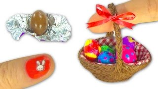 Miniature edible chocolate Easter Eggs and Easter basket or picnic basket DIY Tutorial- YolandaMeow♡