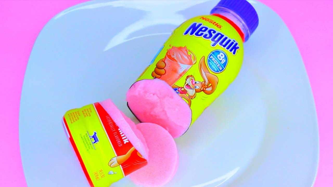 How to Make Nesquik Bottle STRAWBERRY Milk Color Pudding ... Orange Jello