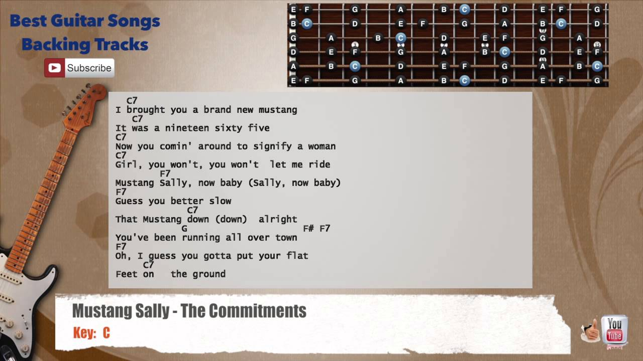 Mustang Sally The Commitments Guitar Backing Track With Scale