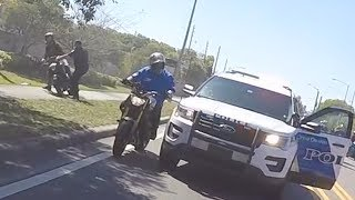 ANGRY Police Officer TASER Biker Running From Cops VS Bikers Cop ARREST Rider Motorcycle Chase 2017