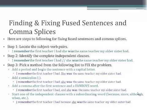 Run-Ons - Fused Sentences  Comma Splices - YouTube - comma and and