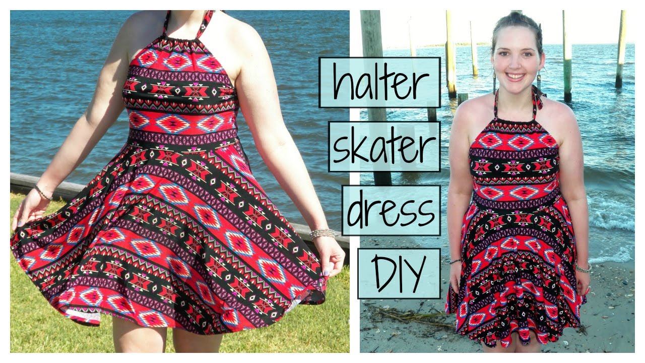 DIY Halter Top Skater Dress | Circle Skirt Party Dress Sewing ...