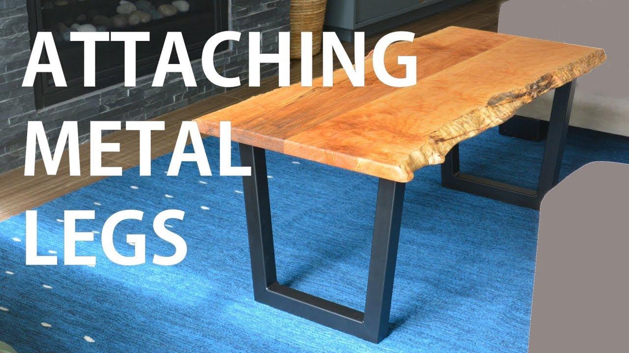 installing metal legs on live edge wood table