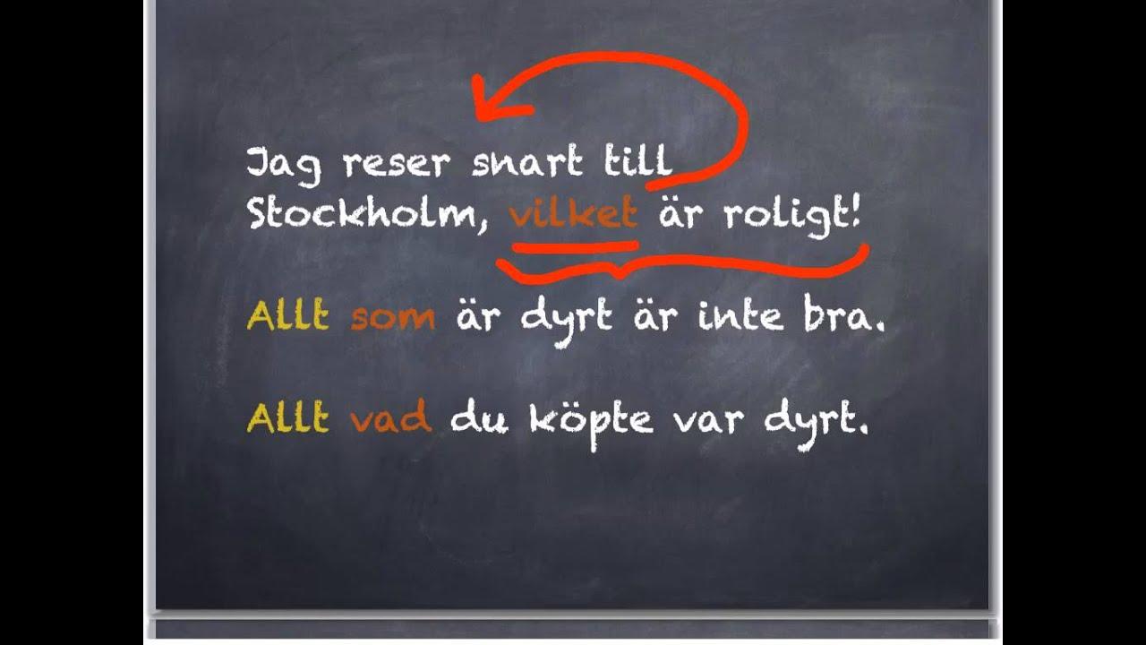 Ruotsin Sivulauseen Sanajärjestys