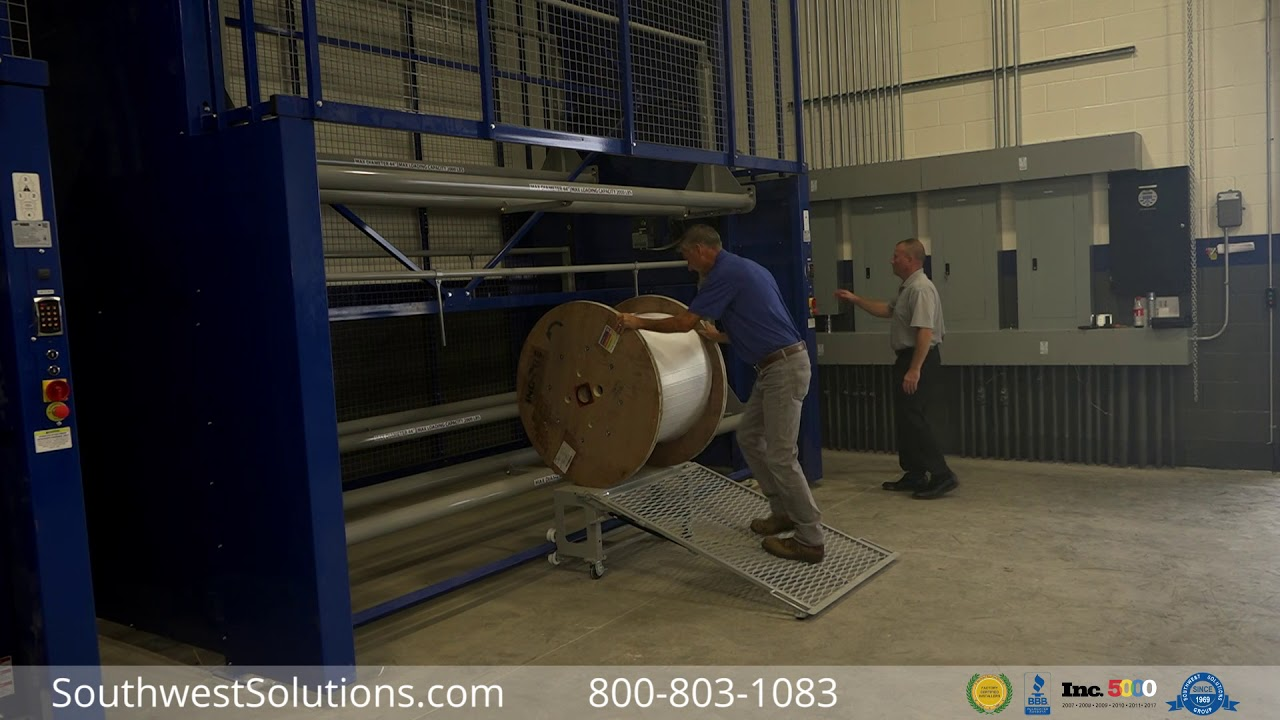 Motorized Wire Spool & Cable Reel Vertical Storage Carousel - YouTube
