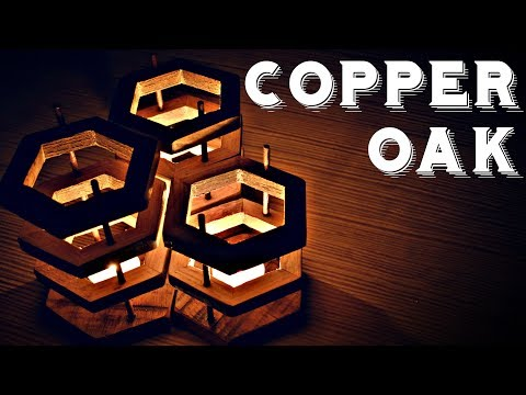 Woodworking - Copper And Oak Candle Holders