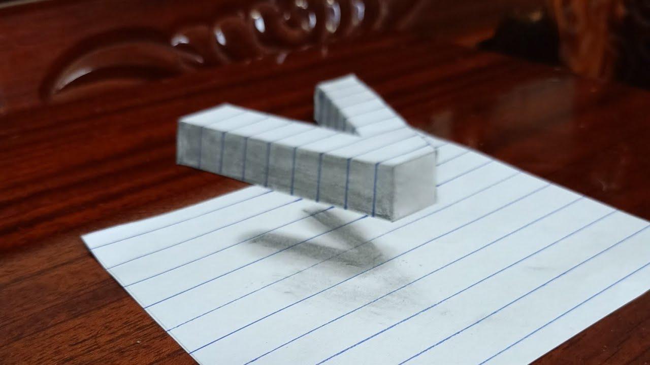 Nghệ thuật 3D / vẽ chữ V bay trên mặt giấy