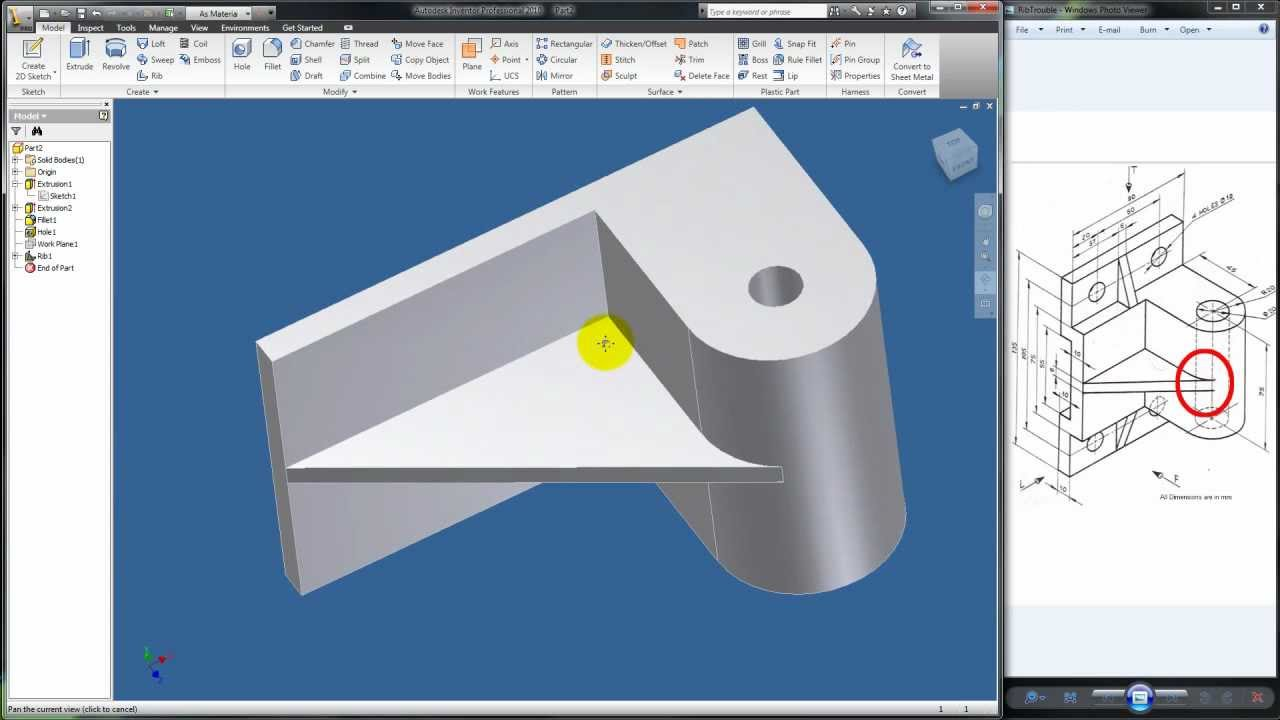 Autodesk Inventor Tutorial 15.5: Rib Follow-up Example