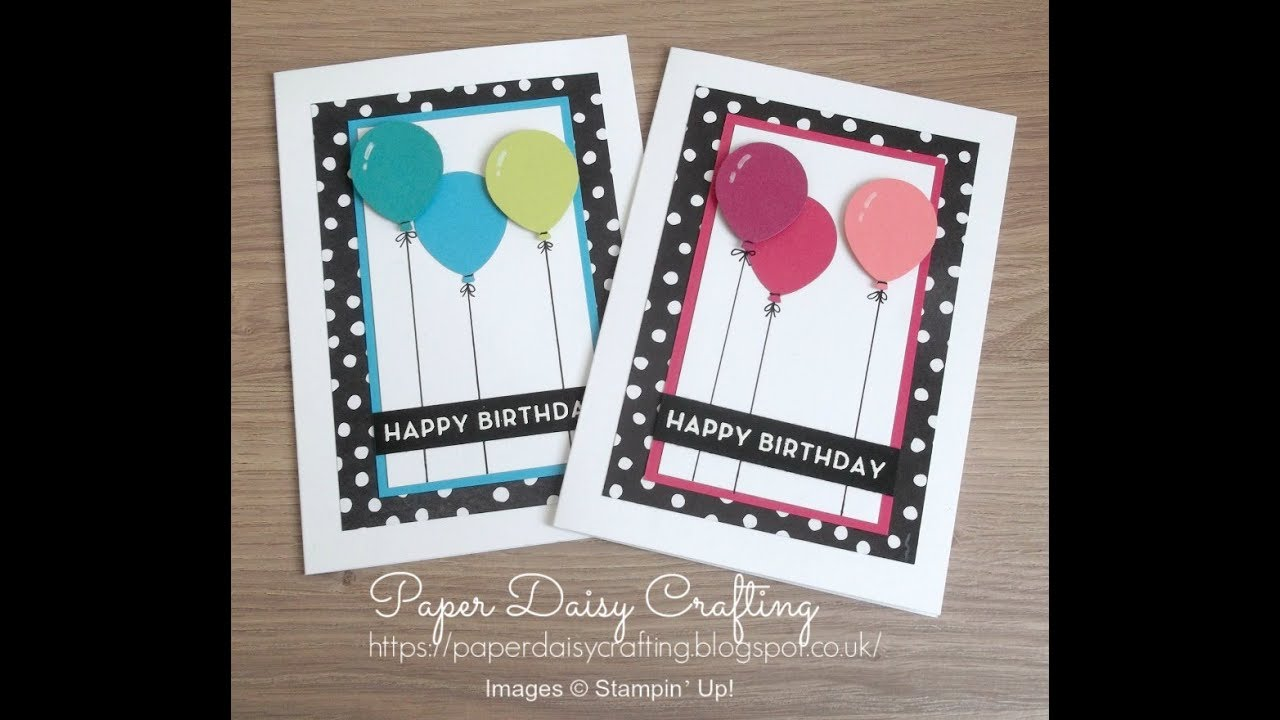 624b1c31a Colourful card with balloon bouquet punch from Stampin  Up! - YouTube