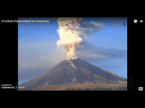 2 Grandes fumarolas del Popocatepetl a las 7:03 y 8:04 am del 16 de Octubre del 2017