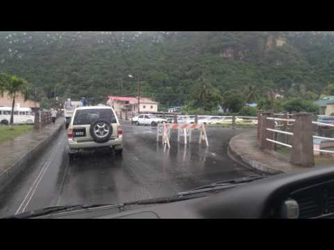 Driving through downtown Soufrière, Saint Lucia, 2016-11-30