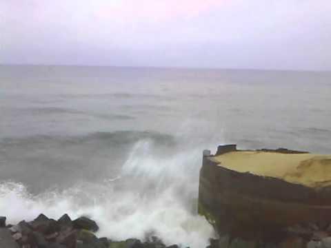 Waves of arabian sea, indian coastal area colachel