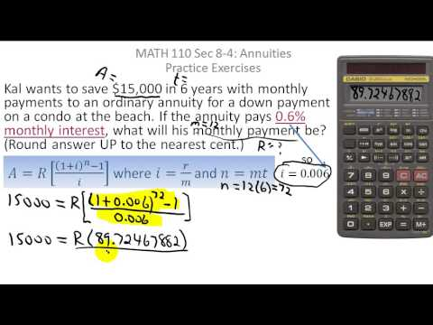 finance calculating payments for an ordinary annuity youtube