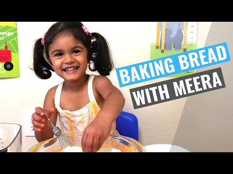 How to make EASY NO KNEAD Bread - 3 Year Old Bakes and Explains | Meera's Corner