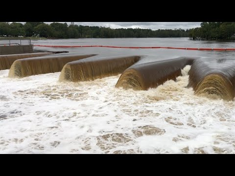 Water released from Hope Mills Lake in hopes of preventing floodwaters from overtaking dam