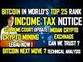 Income tax notice to crypto users I SC Update I Bitcoin in World's top 25 I Bitcoin Next move?