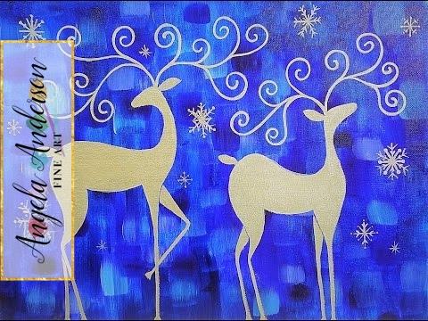 Whimsical Reindeer Acrylic Painting Tutorial Live Christmas Canvas Art Youtube