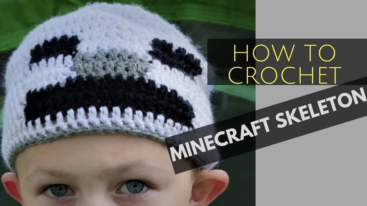 How To Crochet A Minecraft Skeleton Beanie - YouTube