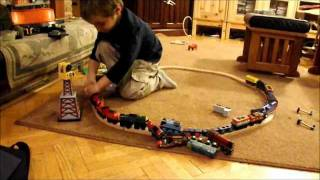 World record - Longest train crashes!  (Caught on Tape!)  3 yr old saves the DAY!