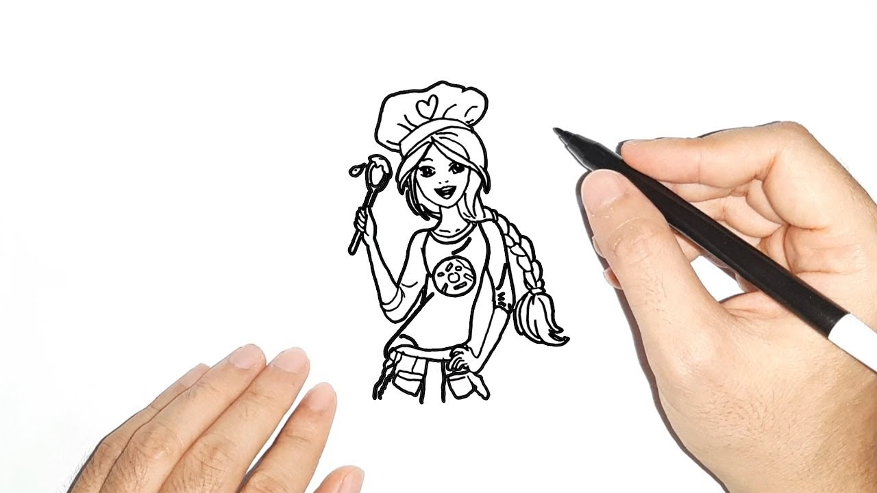 How To Draw Barbie Cooking Cara Gambar Barbie Memasak Youtube