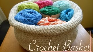 Round Crochet Basket - Video Tutorial (left-handed)