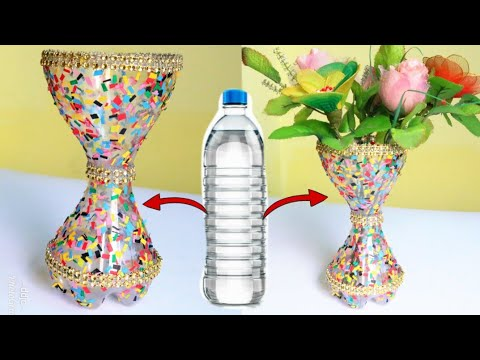 Best Out Of Waste Plastic Flower Vase/Plastic Bottle craft ideas/DIY Flower Pot/Waste material craft