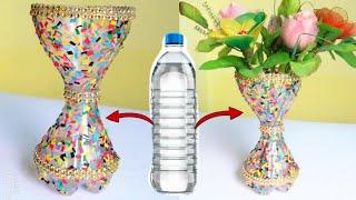 Best Out Of Waste Plastic Flower Vase/Plastic Bottle craft ideas/DIY Flower Pot/Waste material craft