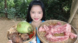 Awesome Cooking Steamed Taro Coconut With Pork Delicious Cook Recipe - Village Food Factory