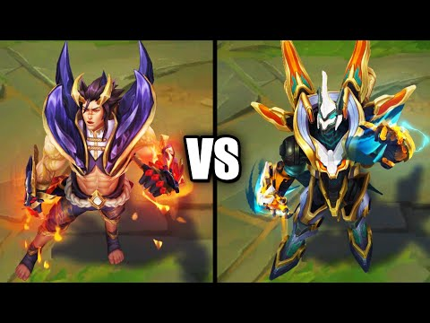 Obsidian Dragon Sett vs Mecha Kingdoms Sett Epic Skins Comparison (League of Legends)