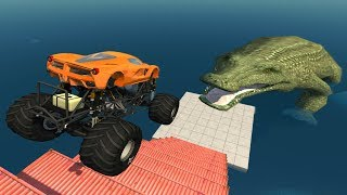 Download Jumping Crashes&Deadly Fall from the Stairs - Beamng drive (Giant Crocodile) Mp3 and Videos