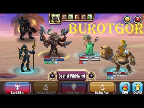 Monster Legends - Team Races - Burotgor level 1-130 review combat PVP - Best skill Earth Monster