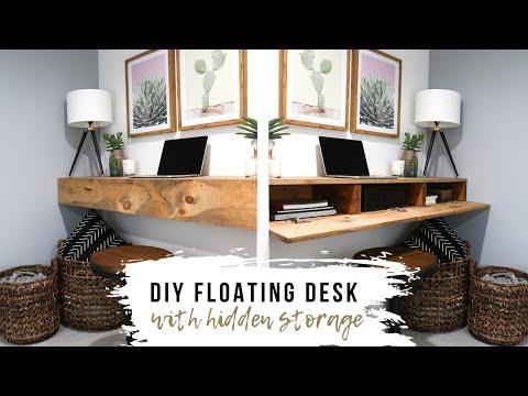 DIY Floating Desk With HIDDEN Storage