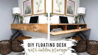 DIY Floating Desk/Shelf With HIDDEN Storage
