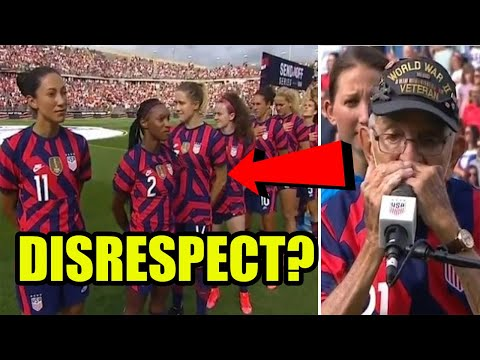 US Womens Soccer Team DISRESPECTS WWII vet playing the National Anthem by turning their back on him?
