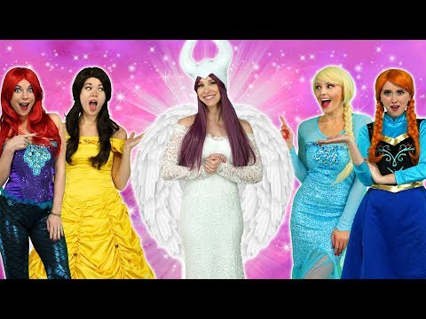 MALEFICENT TURNS GOOD With Elsa Belle Ariel Elsa Rapunzel and Anna