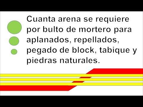 Cuanta arena se requiere por bulto de mortero for Cuantas tilapias por metro cubico